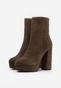 Even&Odd - LEATHER - High heeled ankle boots - khaki - 2