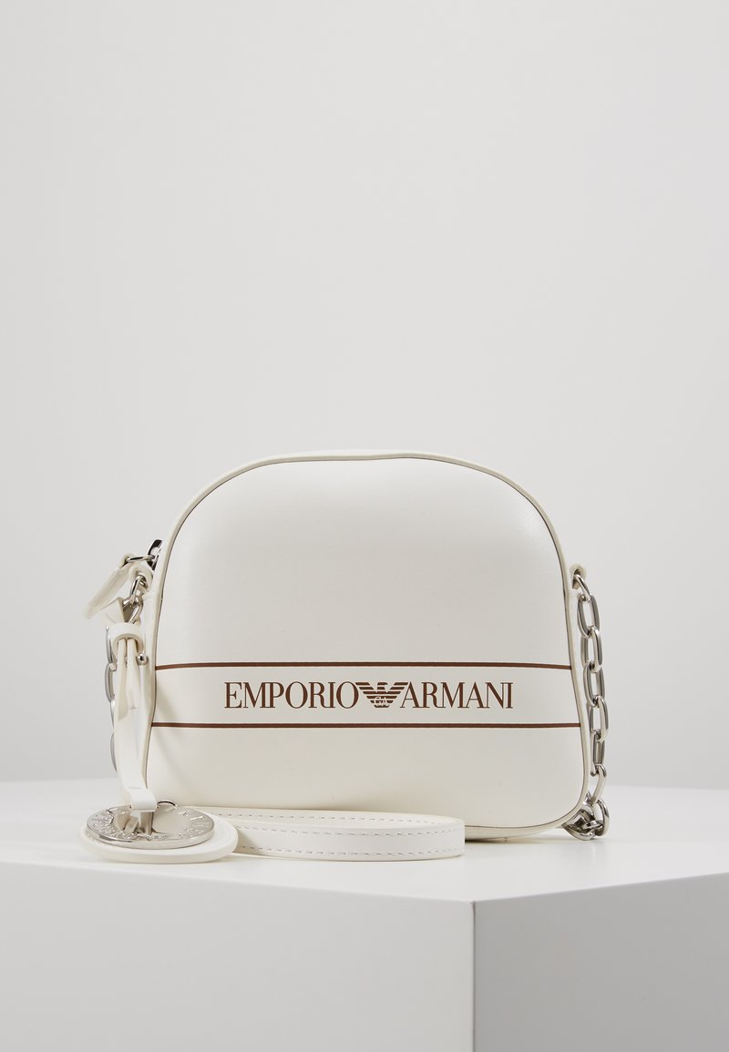 Emporio Armani - STRIPE LOGO CAMERA - Across body bag - bianco