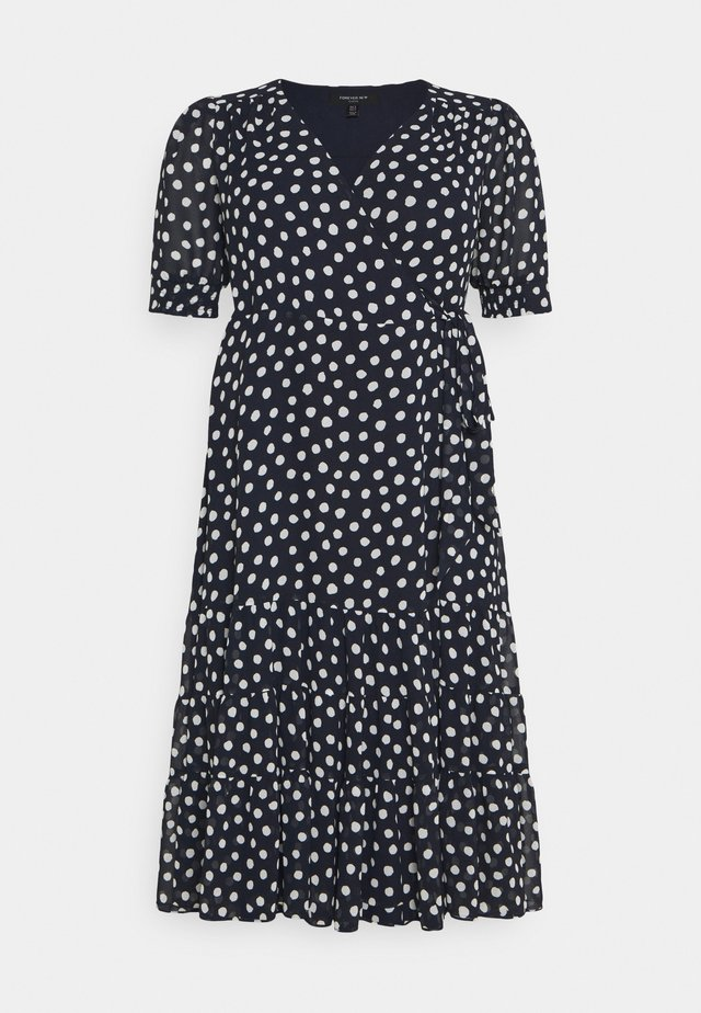 WRAP TIERED MIDI DRESS - Vapaa-ajan mekko - navy