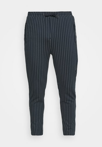 PANTS CROPPED - Trousers - dark navy/white