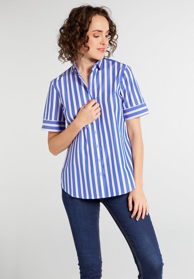 Button-down blouse - blau/weiß