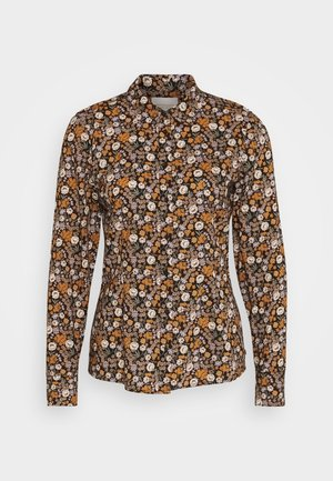 SLIM FIT  - Button-down blouse - black/orange/lilac