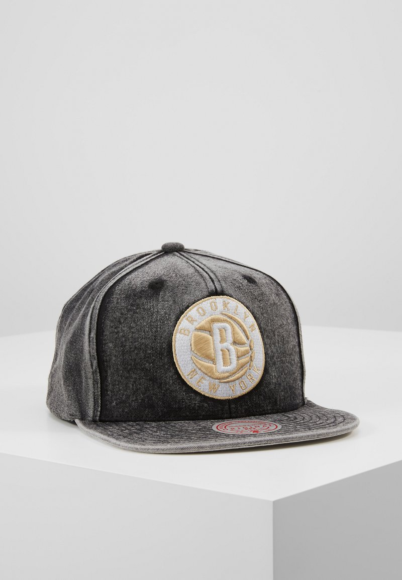 Mitchell & Ness - NBA BROOKLYN NETS SNOW WASHED NATURAL SNAPBACK - Keps - black