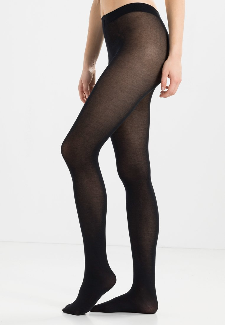 FALKE - FALKE COTTON TOUCH STRUMPFHOSE BLICKDICHT GLATT SCHWARZ - Tights - black