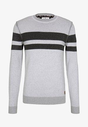 Jumper - white black plated stripe