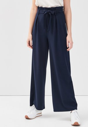 MIT GÜRTEL - Pantalon classique - navy blue