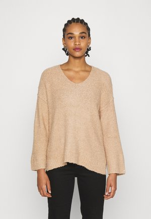TEXTURED VEE NECK - Trui - tan
