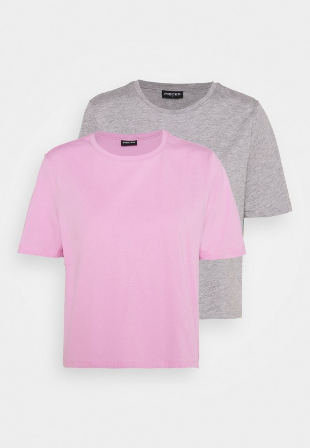 PCRINA CROP 2 PACK - T-shirt basic - light grey melange/pastel lavender