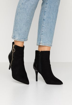 ALLICE CROC BOOT - High heeled ankle boots - black