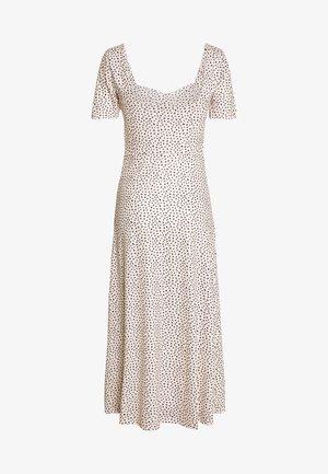 MONO PRINT FRONT SPLIT SHORT SLEEVE DRESS - Maxi šaty - white