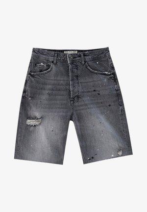 MIT KLECKSEN - Denim shorts - mottled grey