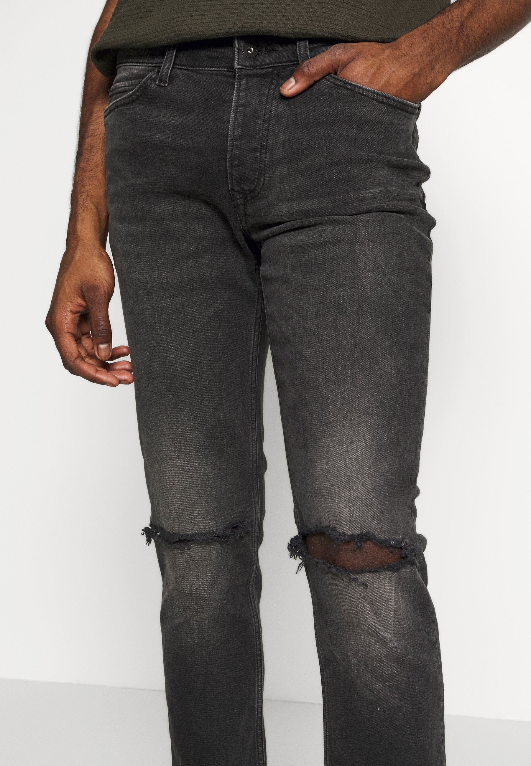 Topman WASHED RIP FLAP - Jeans Skinny Fit - washed black