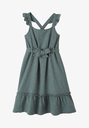 Jersey dress - dunkelgrün getupft