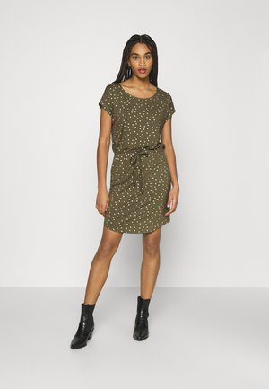 ONLMILLIE BELT DRESS - Jersey dress - kalamata/gold