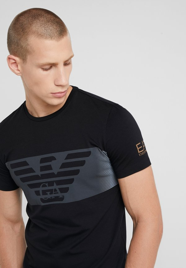 EA7 Emporio Armani T-shirt z nadrukiem - black/czarny Odzież Męska BRGD