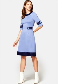 HotSquash - 60S DRESS WITH CONTRAST HEM - Day dress - woodblue and navy silky - 1