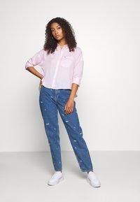 Tommy Jeans - BOLD STRIPE - Button-down blouse - romantic pink/white - 1
