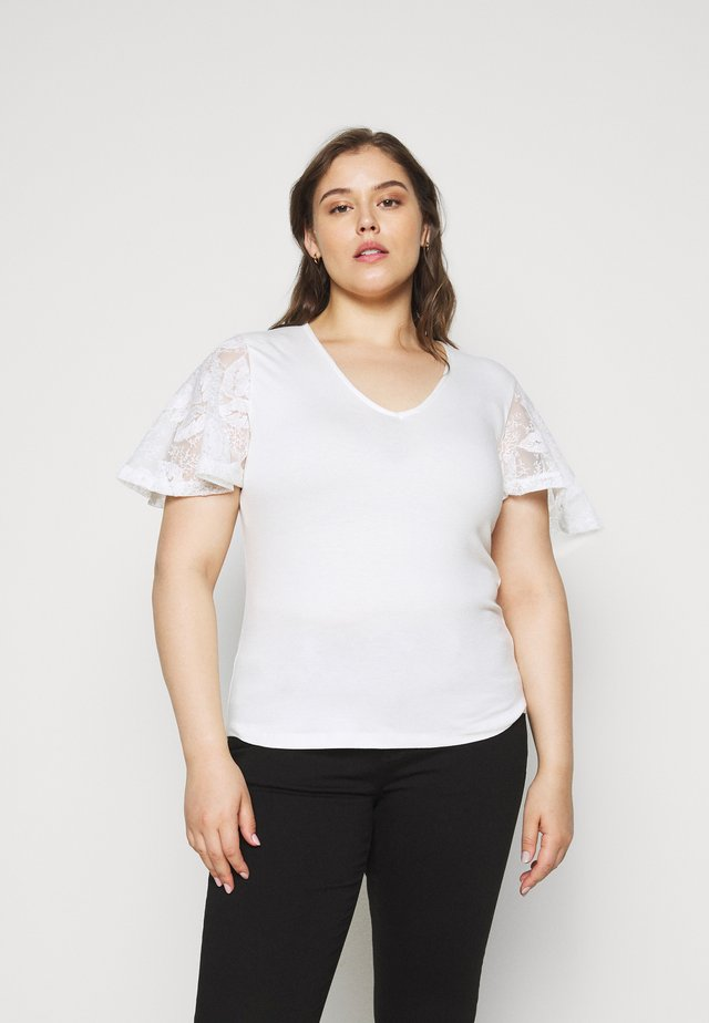 CURVE SLEEVE TOP - T-shirt print - ivory