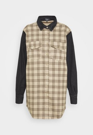 SPLICED CHECK  - Button-down blouse - black