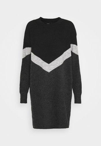 VMGINGOBLOCK O-NECK DRESS  - Jumper dress - dark grey melange/black