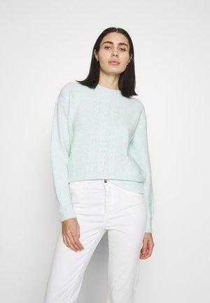 BATWING PLAIN CABLE JUMPER - Pullover - sage