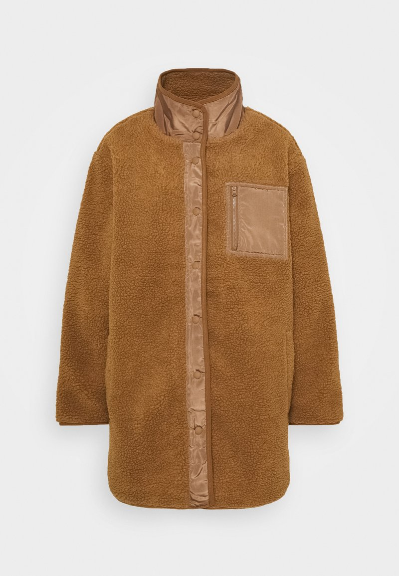 American Eagle - LONG SHIRT TAIL SHERPA JACKET - Winter jacket - brown