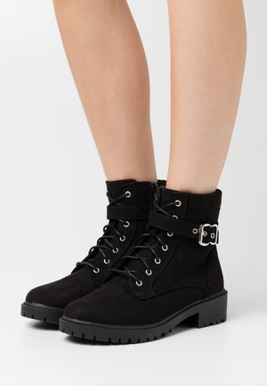 WIDE FIT MONA LACE UP - Lace-up ankle boots - black
