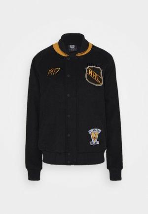 NHL TRUE CLASSICS SHIELD LETTERMAN JACKET - Klubové oblečení - black