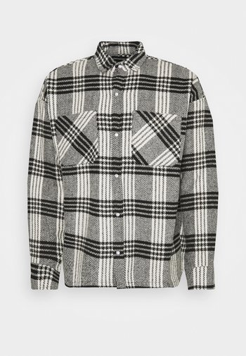 BUTTONED HEAVY CHECK RELAXED - Summer jacket - white