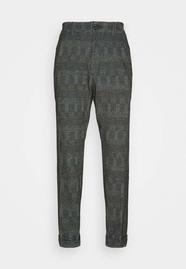 TAPERED PLEAT COMFORT CHECK - Pantalon classique - black