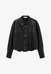 Faux leather jacket - černá