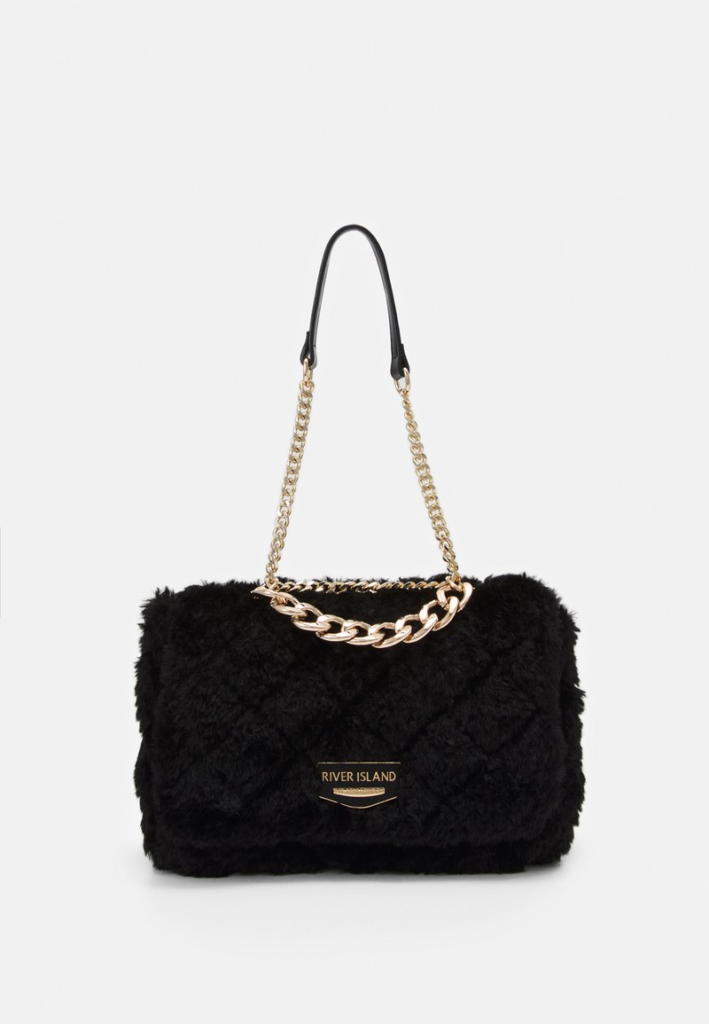 River Island - FLUFFY QUILTED SHOULDER BAG - Handbag - black