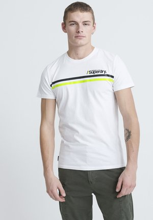 CORE LOGO SPORT STRIPE TEE - T-shirt print - white
