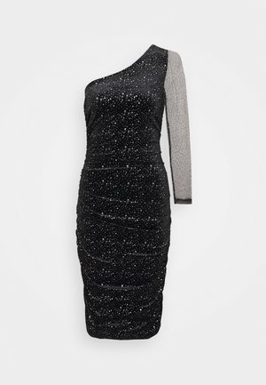 ONE SHOULDER GLITTER BODYCON DRESS - Vestito elegante - black