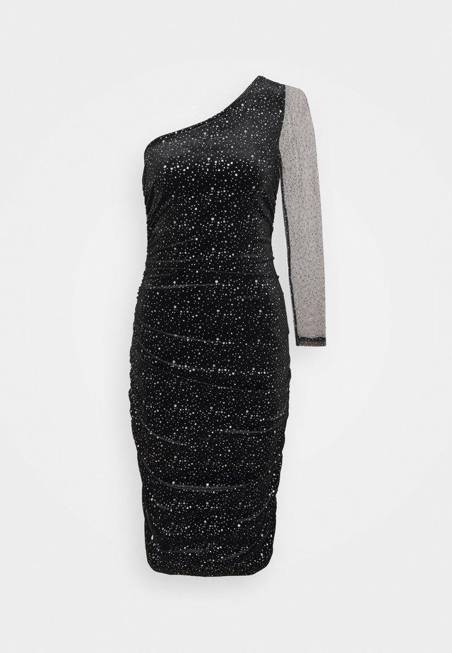 ONE SHOULDER GLITTER BODYCON DRESS - Vestido de cóctel - black