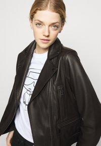 KARL LAGERFELD - IKONIK  BIKER JACKET - Leather jacket - black - 3
