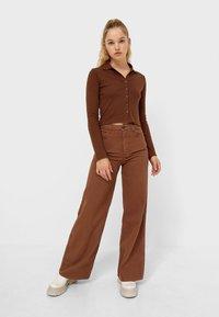 Stradivarius - Button-down blouse - mottled brown - 1