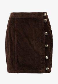 Pieces - PCCORDY SKIRT BUTTON - Mini skirt - coffee bean - 3