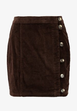PCCORDY SKIRT BUTTON - Mini skirt - coffee bean