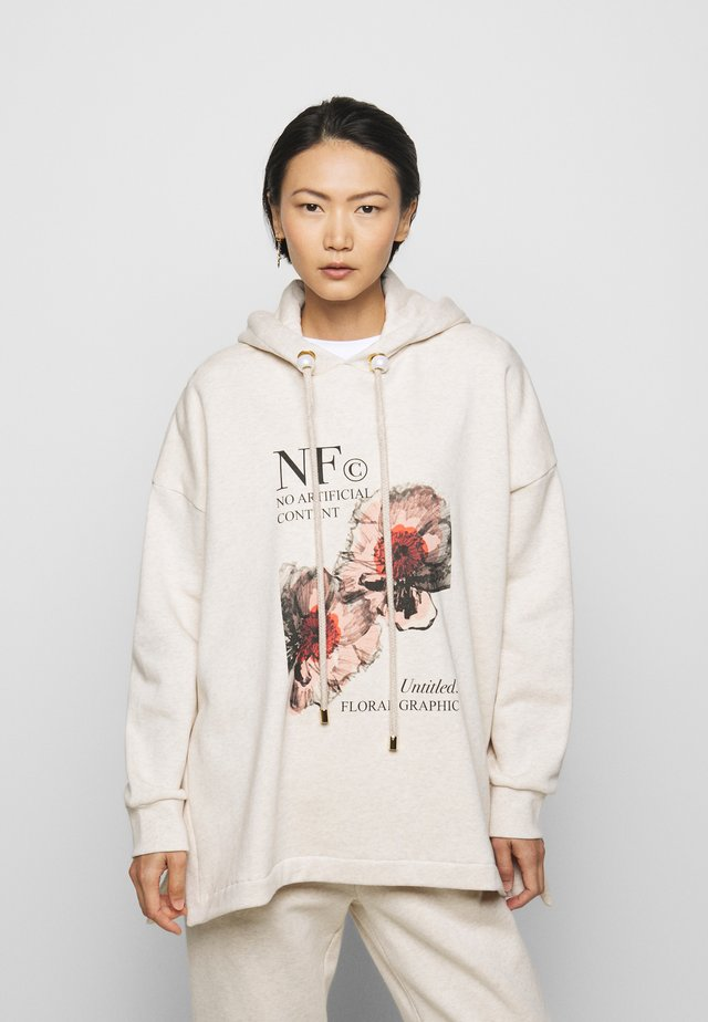 PRINTED HOODIE WITH THICK - Sweat à capuche - oatmeal