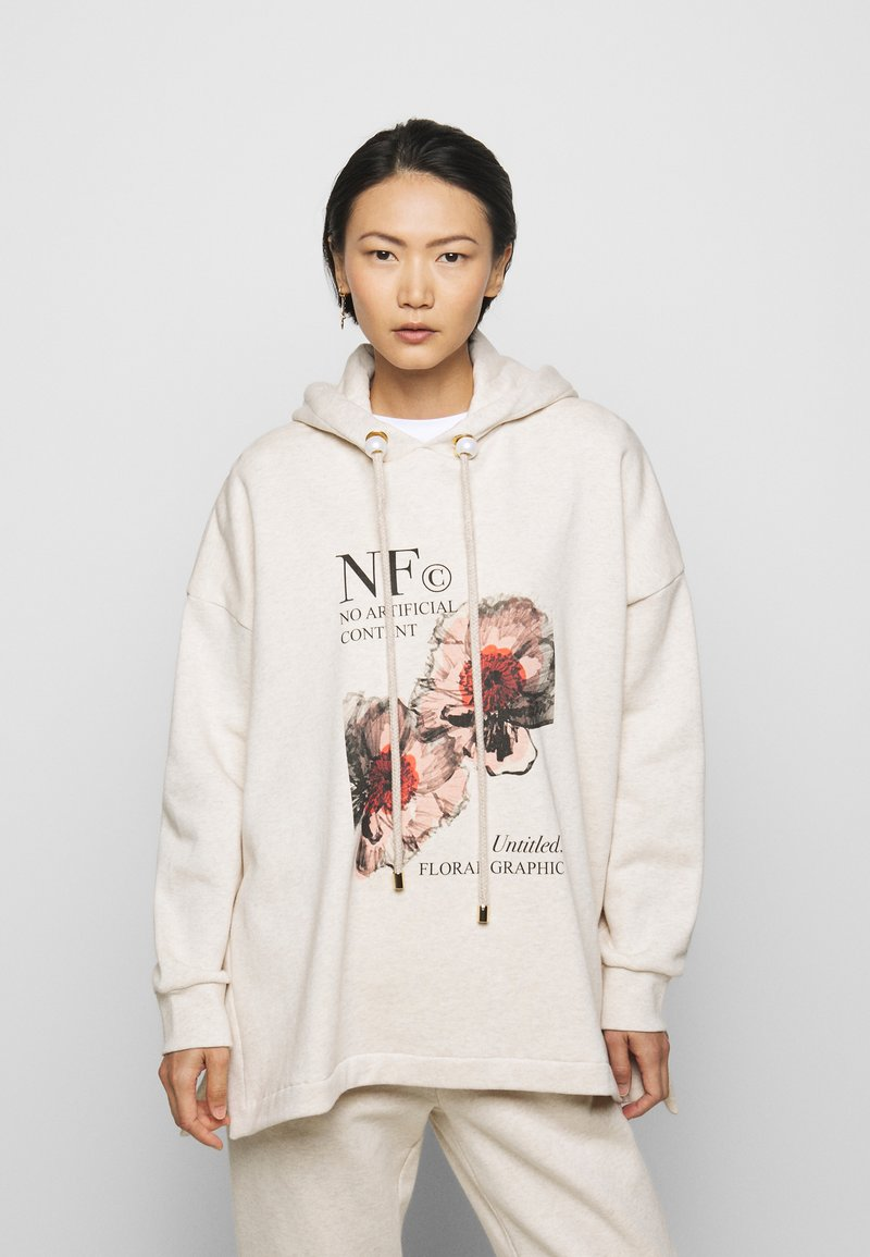 Mother of Pearl - PRINTED HOODIE WITH THICK - Mikina skapucí - oatmeal