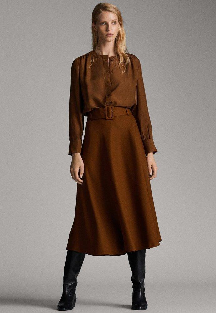 Massimo Dutti - A-snit nederdel/ A-formede nederdele - ochre