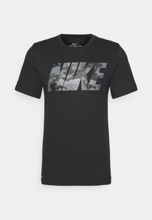 DRY TEE CAMO BLOCK - T-shirt med print - black/smoke grey
