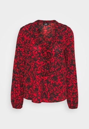 SHADOW DITZY FLORAL FRILL - Long sleeved top - red