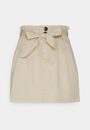 ONLPIPI LIFE PAPERBAG BELT SKIRT - Mini skirt - oatmeal