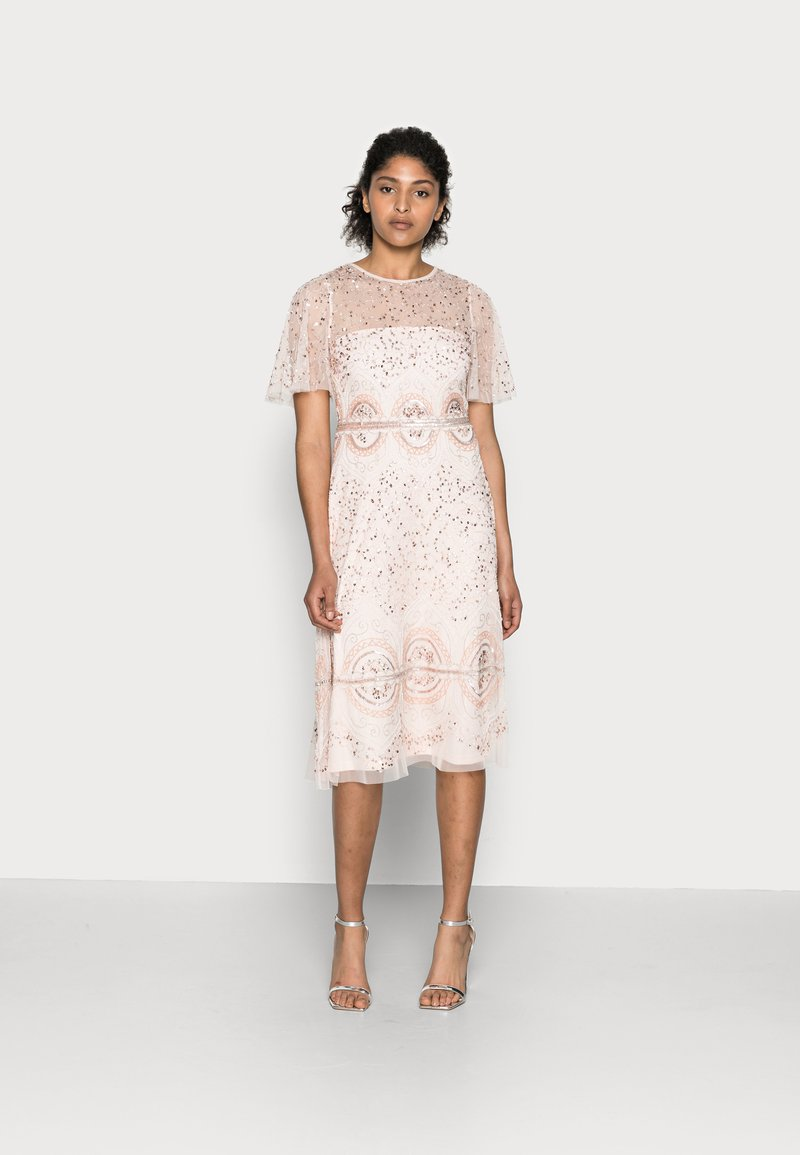 Adrianna Papell - BEADED FLUTTER DRESS - Cocktail dress / Party dress - pale pink