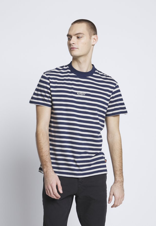 2 STRIPE TEE - Print T-shirt - navy