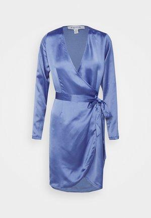 WRAP BALLOON SLEEVE MINI DRESS - Vestido informal - blue
