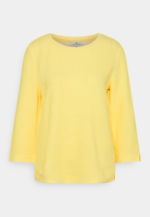 CREW NECK - Sweatshirt - yellow/white