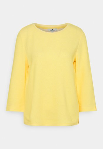 CREW NECK - Sweatshirt - yellow/white